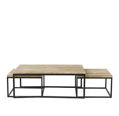 mesas centro madera y hierro