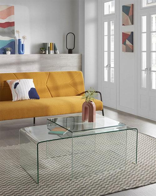 mesa de centro de cristal templado
