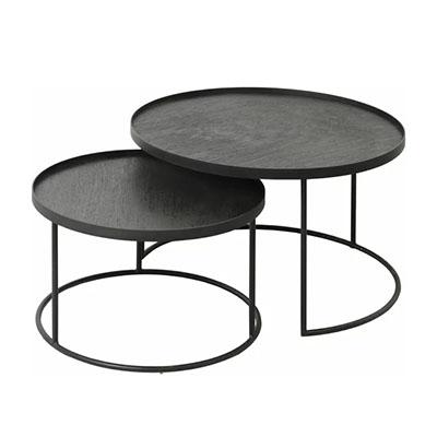 mesa de centro negra redonda