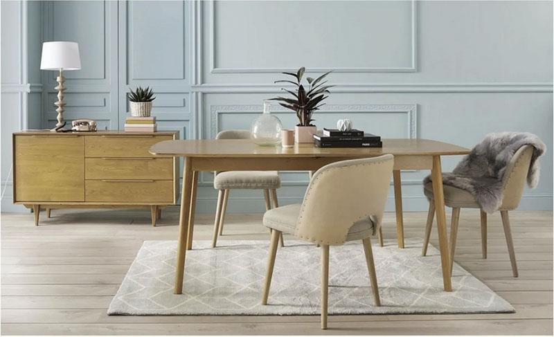 mesa de comedor extensible de madera de estilo nórdico