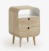 mesa de noche nórdica de madera