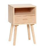 mesita de noche nórdica de madera con un cajón