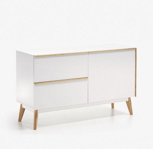 mueble aparador lacado blanco con puertas y cajones