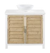 mueble de baño rústico de color blanco con puertas
