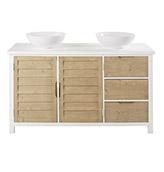 mueble de baño rústico  con puertas y cajones de color blanco y madera