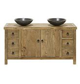mueble de baño rústico de madera de olmo