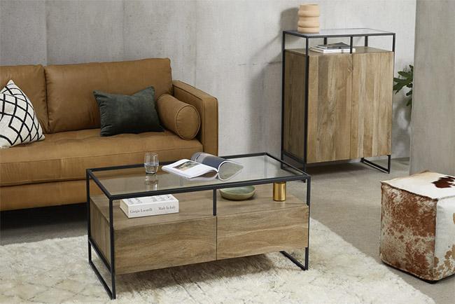 mesa auxiliar de madera de estilo vintage
