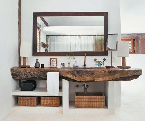 Decoración del baño con cestas
