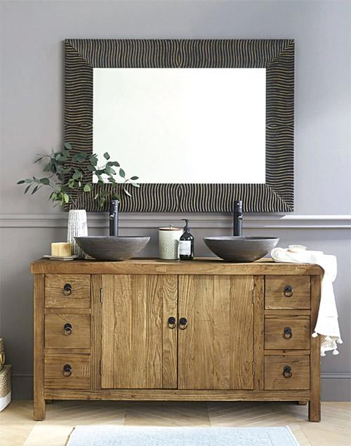 mueble de madera de estilo rústico para la decoración del cuarto de baño