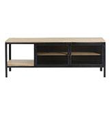 mesa TV de estilo industrial con cajones de madera