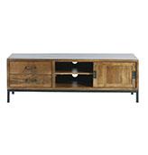 mesa TV de estilo industrial rústico de madera