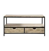mesa TV de estilo industrial de metal y madera