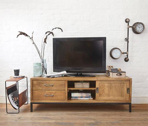 mueble TV industrial de madera para decorar el salón