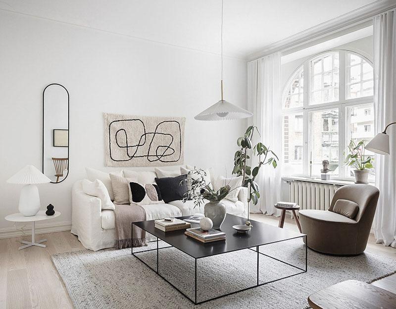 mesa de centro de diseño y estilo nórdico
