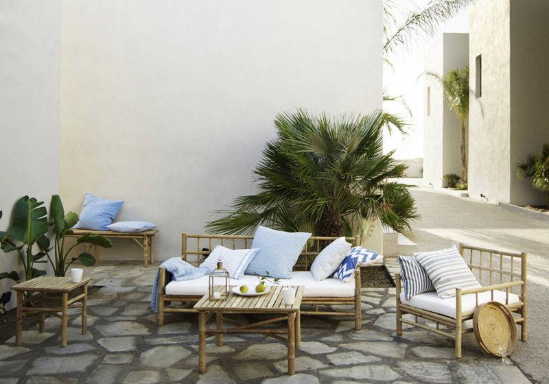 Muebles de bambú para decorar la terraza o el jardín