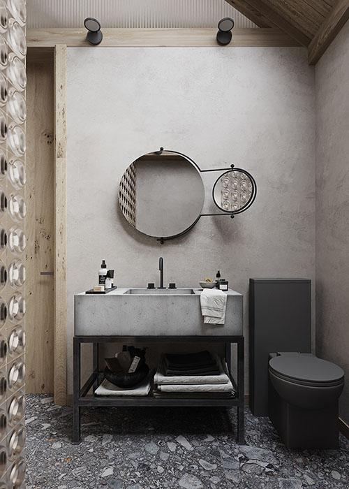 Espejo y mueble de piedra