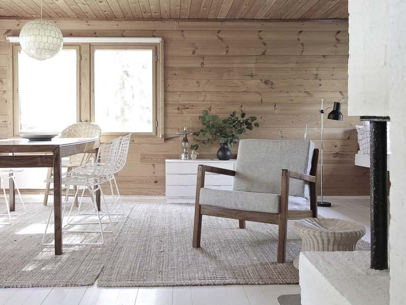 Muebles de estilo nórdico para decorar cabañas de madera
