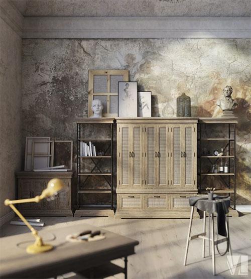 Muebles con cajones en la decoración de lofts