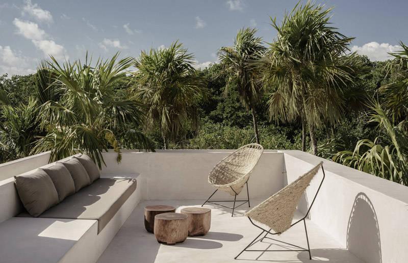 Cómo decorar un una terraza con muebles de fibras naturales