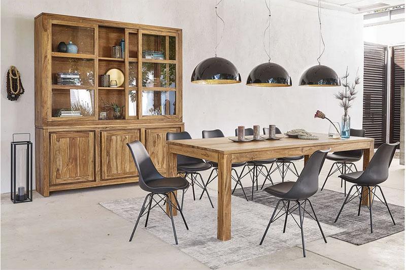 decoración de comedores con muebles de madera natural