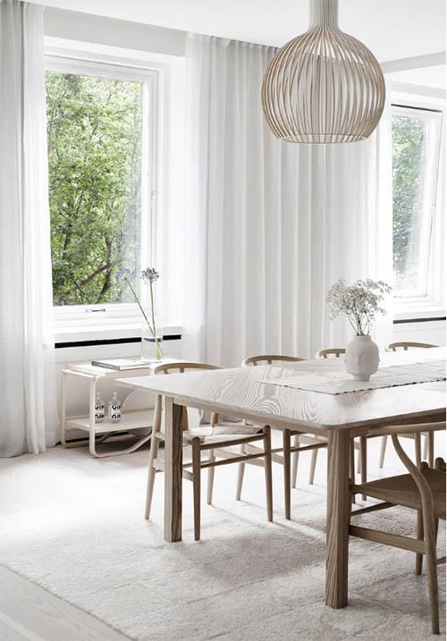 Mesa y sillas de diseño escandinavo