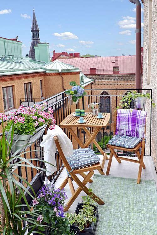 Muebles de madera plegables para el balcón de casa