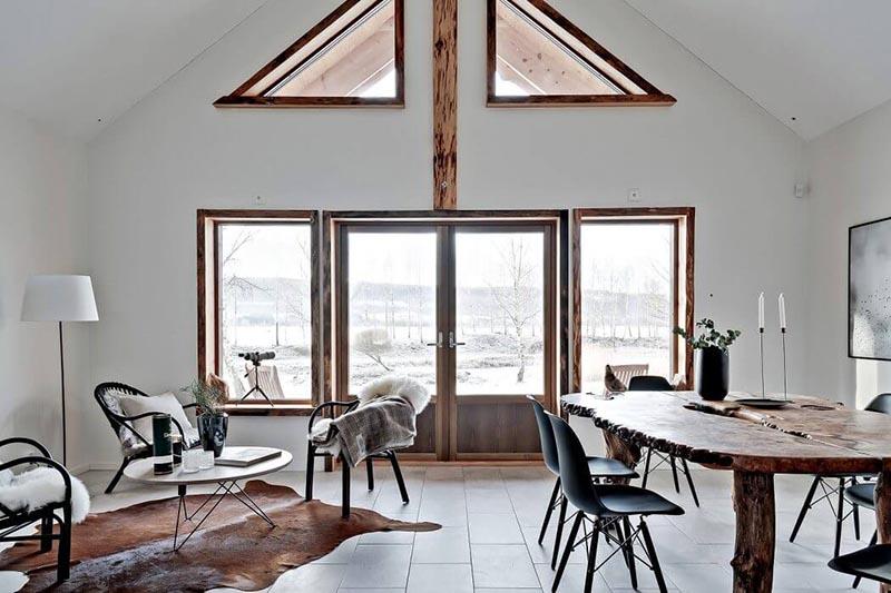 Decoración rústica en una casa nórdica