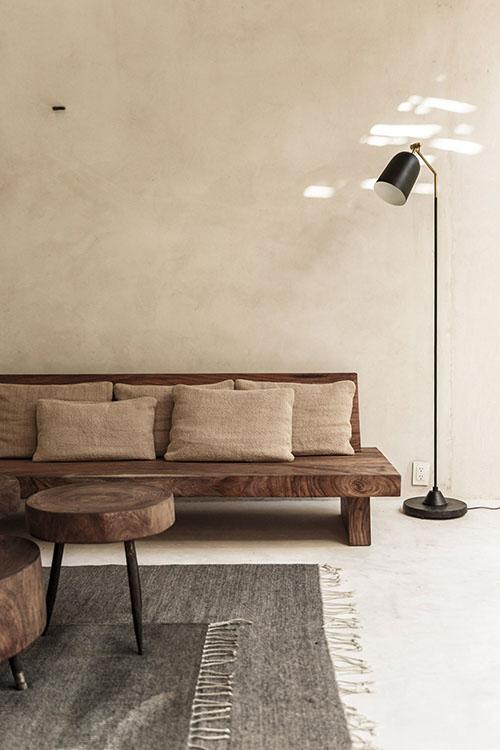 madera y lino para decorar el salon de casa