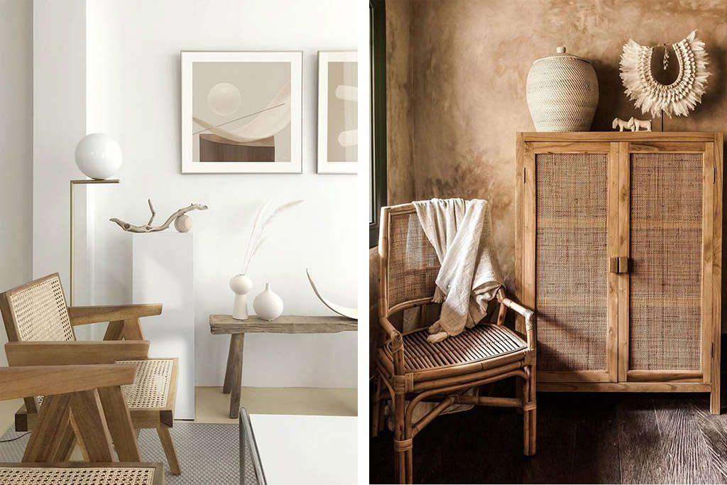 Muebles de rattán natural y sintético en la decoración