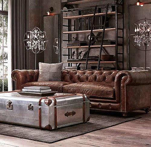 Mobiliario vintage en los salones industriales