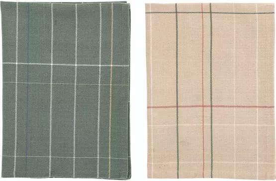 dos trapos de cocina de algodón de color verde y marrón