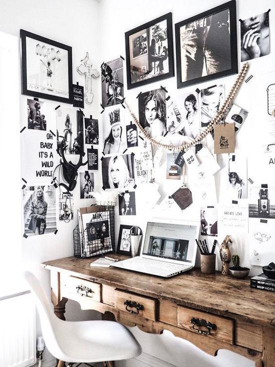 Pared decorada con fotos en una casa de estilo nórdico