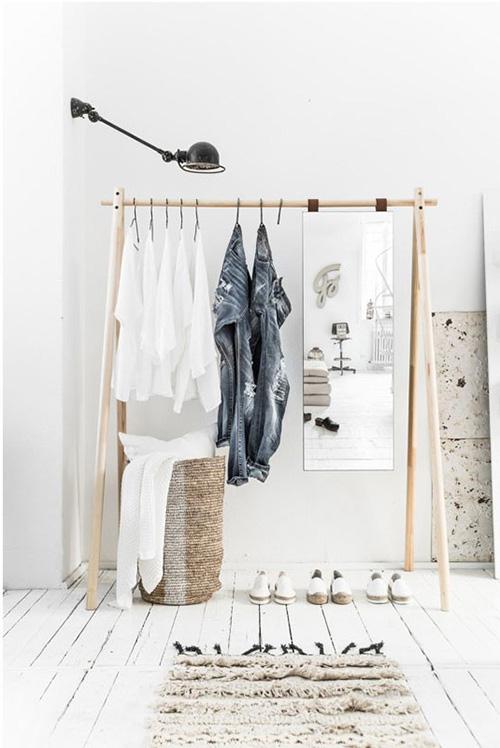 perchero de madera de diseño nórdico