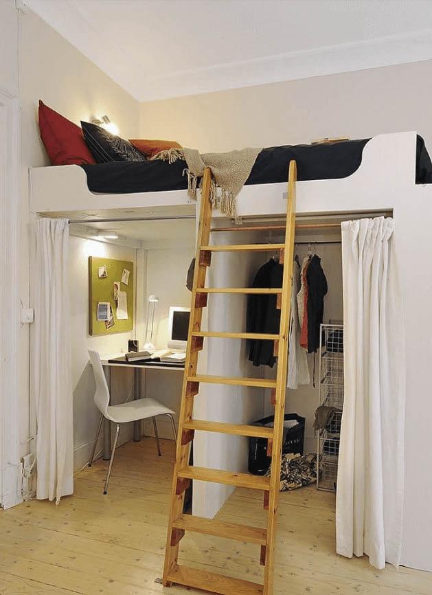 Plataforma elevada en un dormitorio