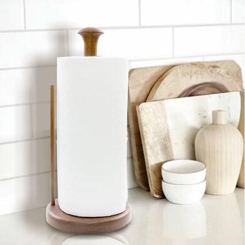 portarrollos de papel de cocina vertical de pie de madera