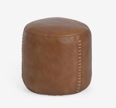 puff de piel redondo marrón