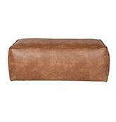 puf de piel de cuero marrón