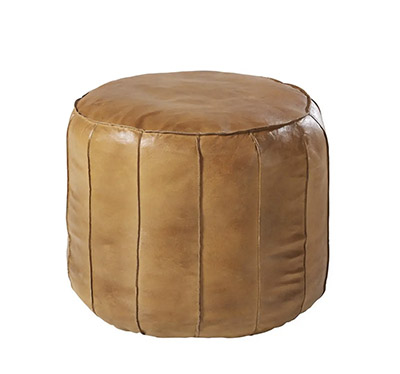 puff alto de cuero marrón