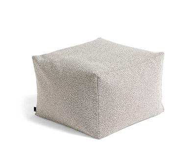 puf de diseño nórdico de tela gris