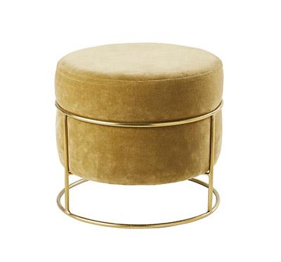 puf de terciopelo con metal dorado