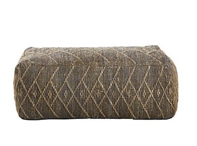 puff rectangular de fibra natural y algodón