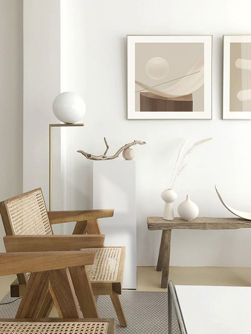 El rattán y los interiores minimalistas