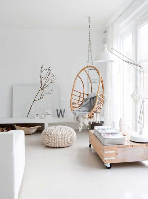 silla colgante de ratán