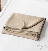 sábana de lino lavado de color beige