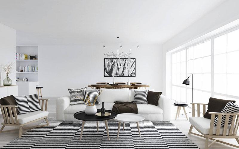 Salón de estilo nordico en blanco y negro