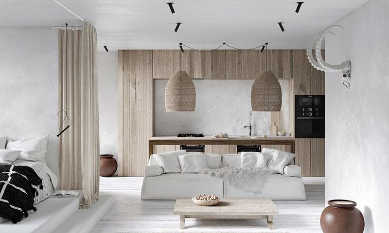 Casa decorada con tonos de blanco y marrón
