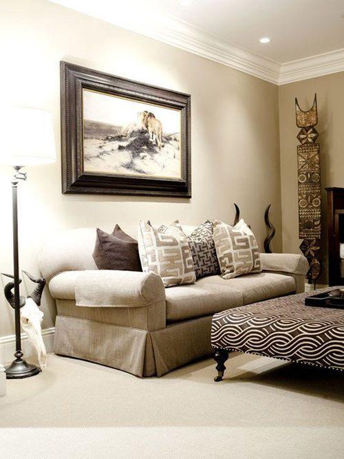 Decoración de un salón con estilo africano
