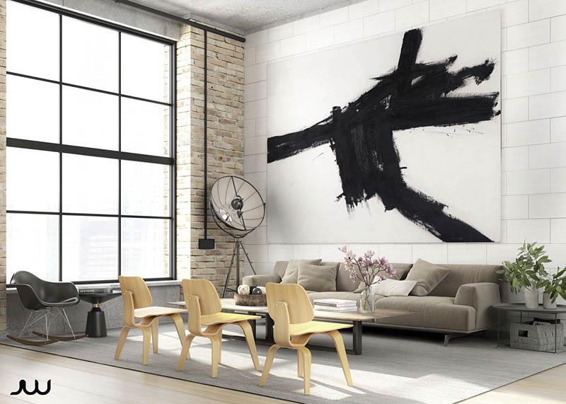Sala de estar tipo loft con detalles industriales