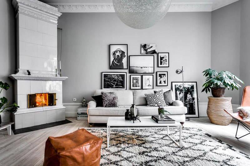 Paredes de salones pintadas con tonos grises