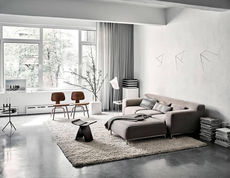 Salón tipo loft pintado de color gris